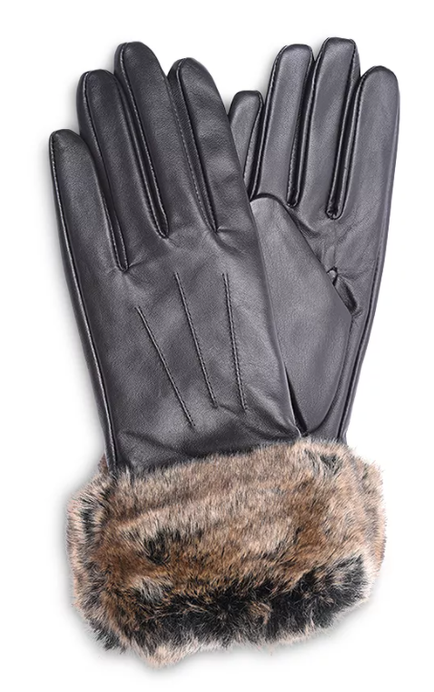 Barbour Dark Brown Faux Fur Trimmed Leather Gloves