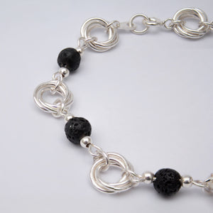 Silver and Black Lava Bead Bracelet