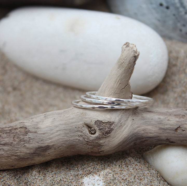 Textured Silver Stacking Rings