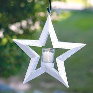 White 5 Point Hanging Star Votive Holder