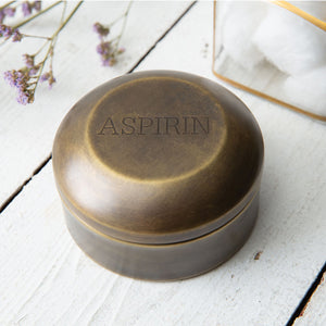 Antique Brass Aspirin Pill Box