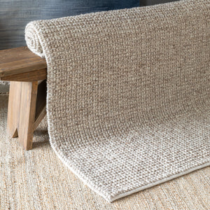 Mocha Aspen Hand Woven Natural Felted Wool Rug