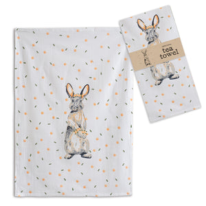 Bunny with Flowers Tea Towel, Set of 4