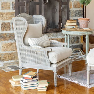Cane Wingback Lounge Chair