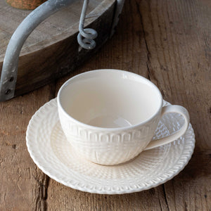 Creamware Basketweave Cup & Saucer