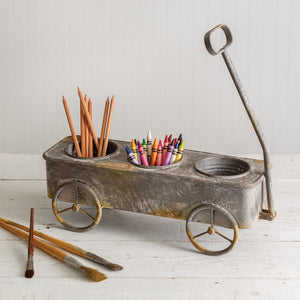 Divided Rusty Wagon Planter