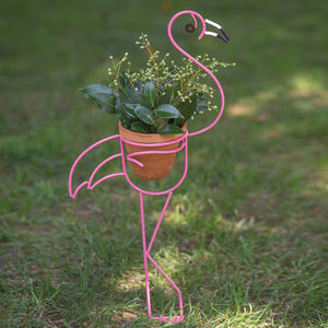 Flamingo Garden Stake Planter