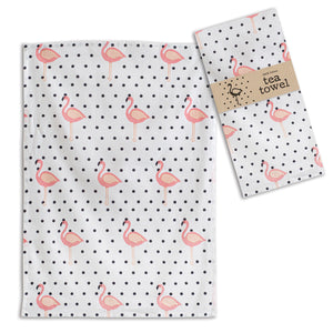 Flamingo Polka-Dot Tea Towel - Set of 4