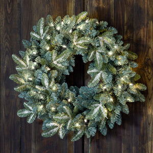 Frosted Blue Spruce Wreath With Led Lights