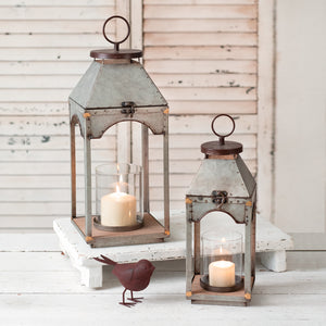 Galvanized Candle Lanterns with Wood Base, Set of 2