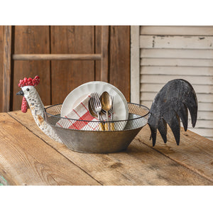 Galvanized Rooster Bowl