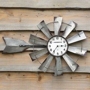 Long Windmill Wall Clock