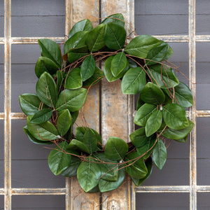 "24"" Magnolia Leaf & Twig Wreath"