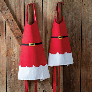 Mrs. Claus Mom and Daughter Apron Set