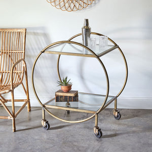 Round Antique Brass Bar Cart