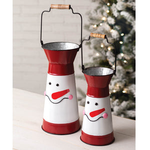 Snowman Containers with Handles, Set of 2