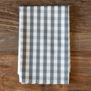 Taupe Gingham Cloth Napkin, Set of 4