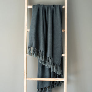 Indigo Washed Linen Throw