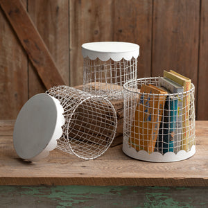 Wire Boxes With Scalloped Metal Lids