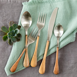 Wood Handled Stainless Flatware, Set of 5 utensils