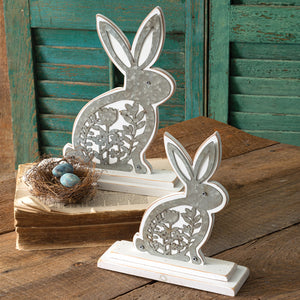Wooden Bunnies with Metal Cutouts, Set of 2