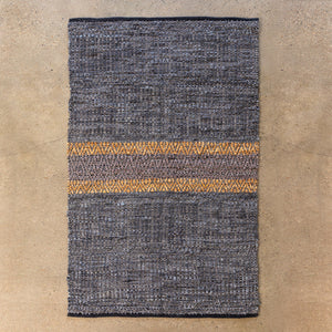 Woven Leather Stripe Rug