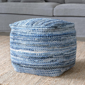 Woven Recycled Denim Pouf