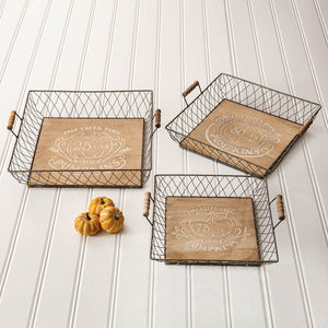 Autumn Wood and Metal Trays, Set of 3