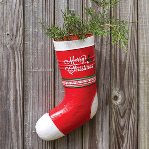 Red and White Metal Stocking