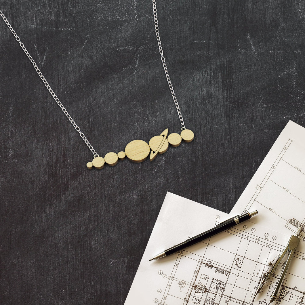 Solar System Wood Necklace
