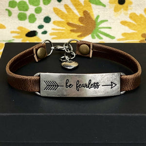 Be Fearless Leather Bracelet