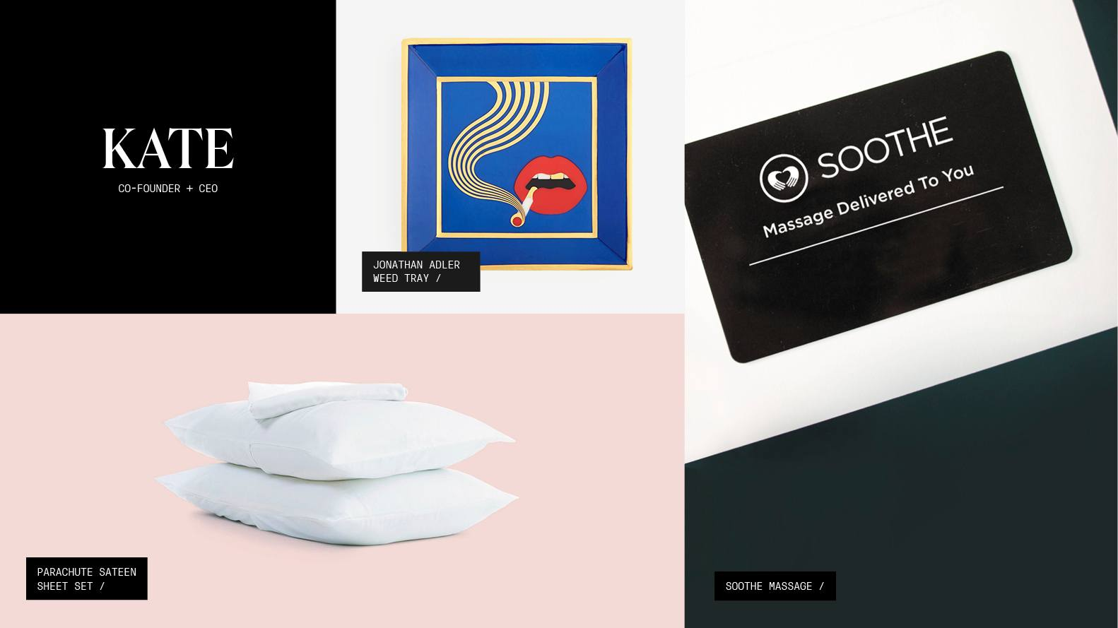 A roundup of gift picks including a sheet set, a ceramic ash tray, and a Sooth Massage gift card.