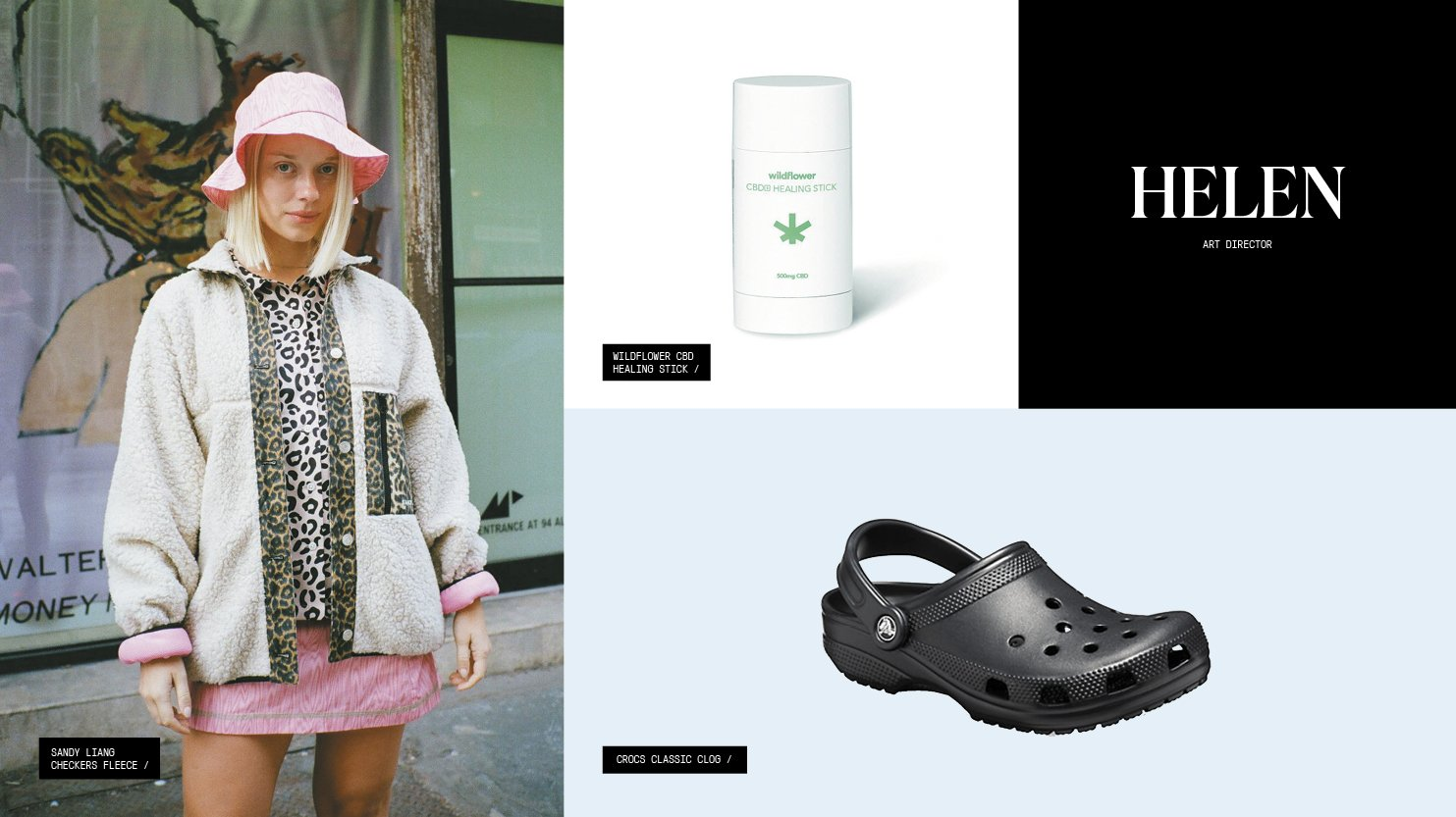 A roundup of gift picks including a fleece with leopard-print trim, a CBD topical, and Crocs sandals.