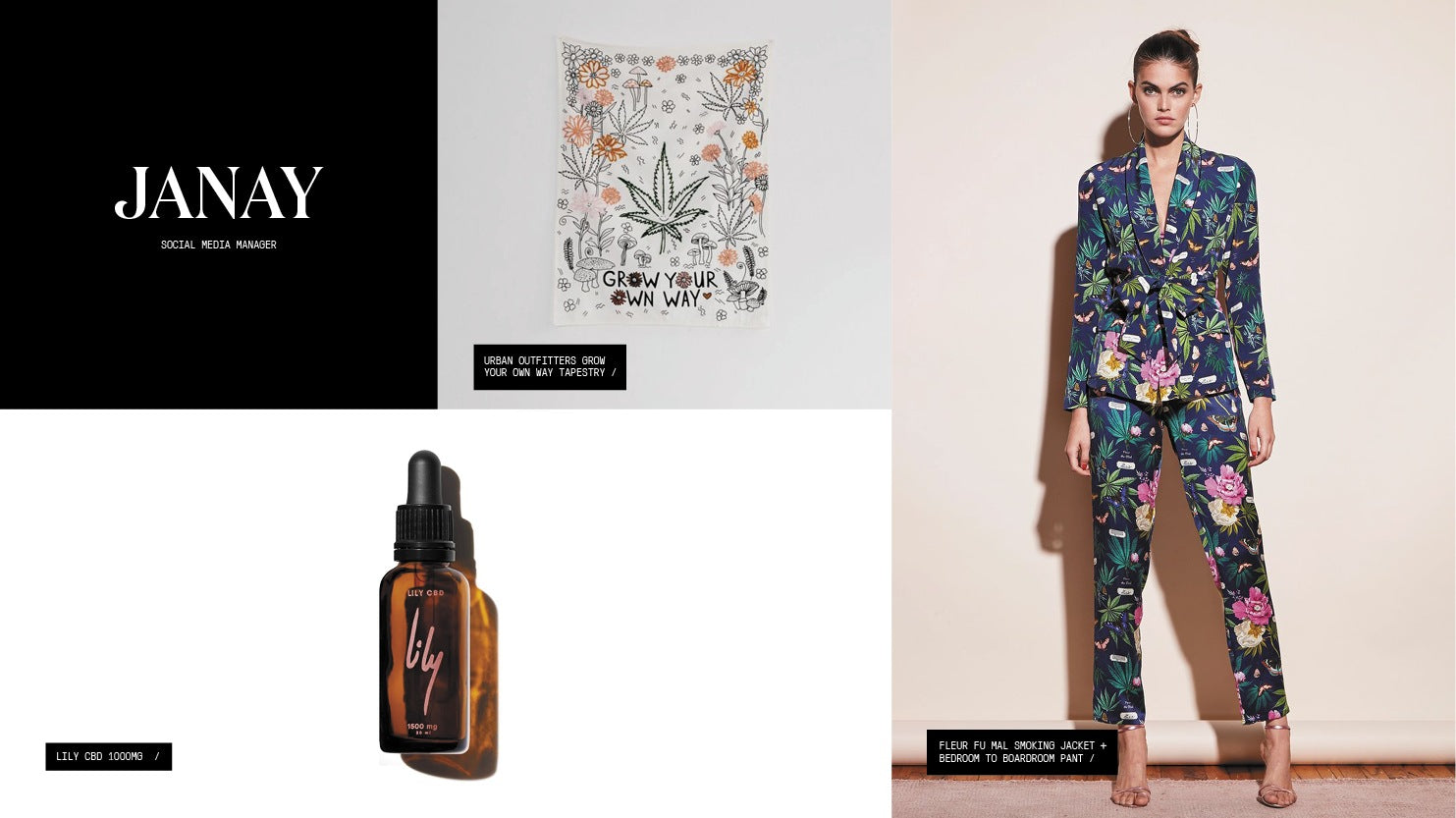 """A roundup of gift picks including cannabis-print smoking jacket and pant set, a CBD tincture, and a cannabis leaf """"Grow Your Own Way"""" tapestry."""