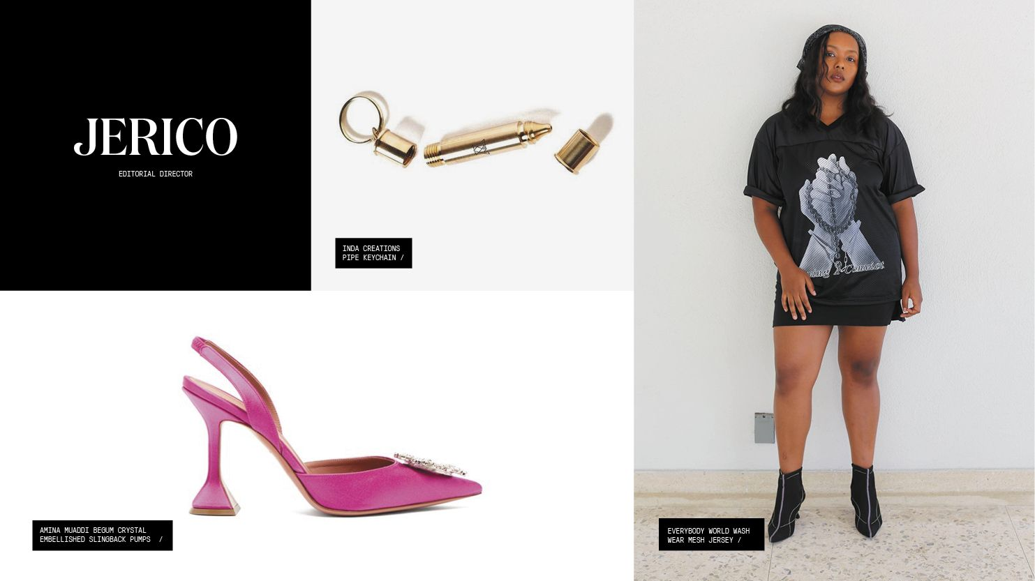 A roundup of gift picks including a pipe keychain, a charitable graphic tee, and hot pink bejeweled stilettos.