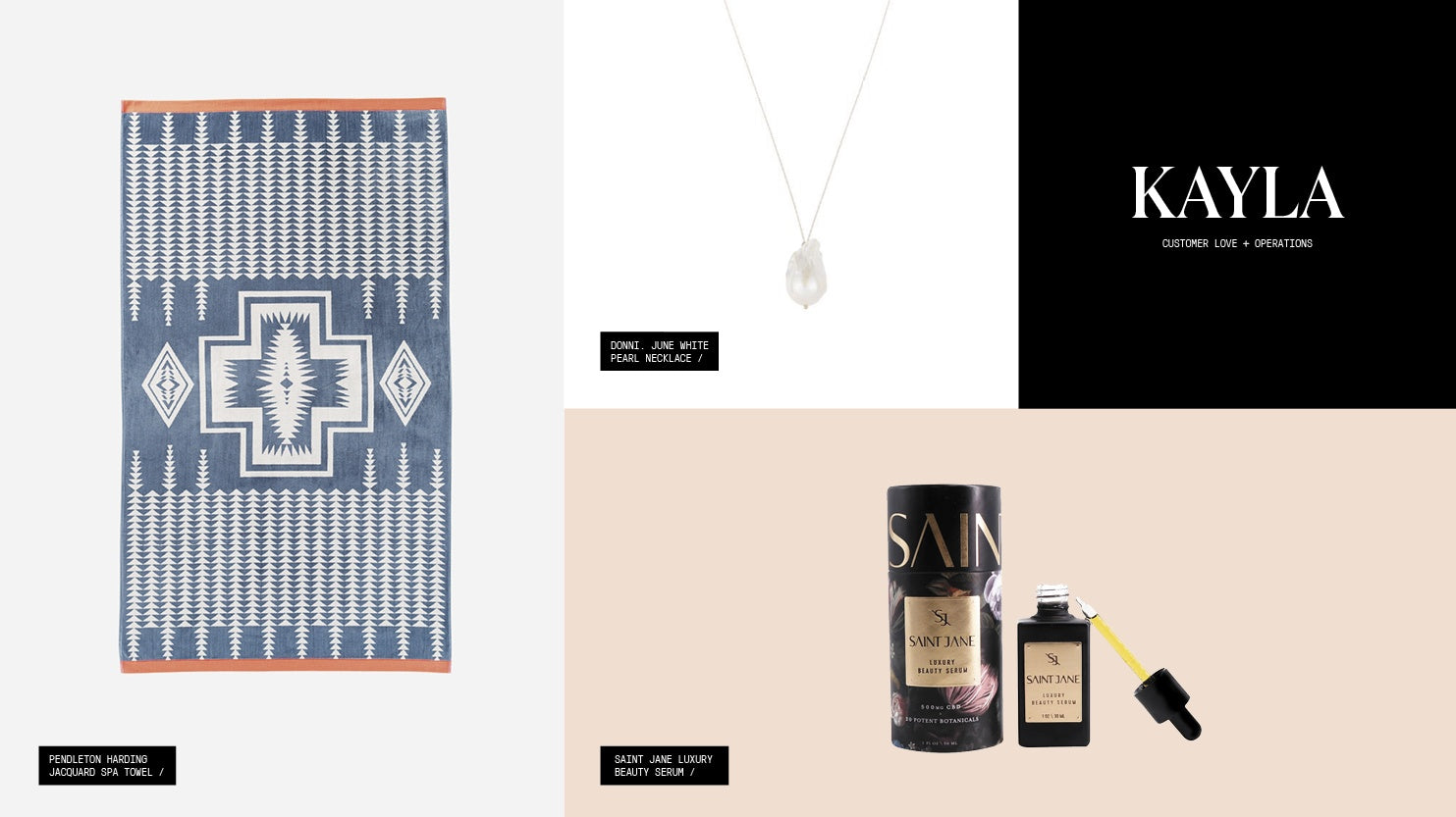 A roundup of gift picks including a beach towel, a natural pearl necklace, and a CBD-infused face serum.