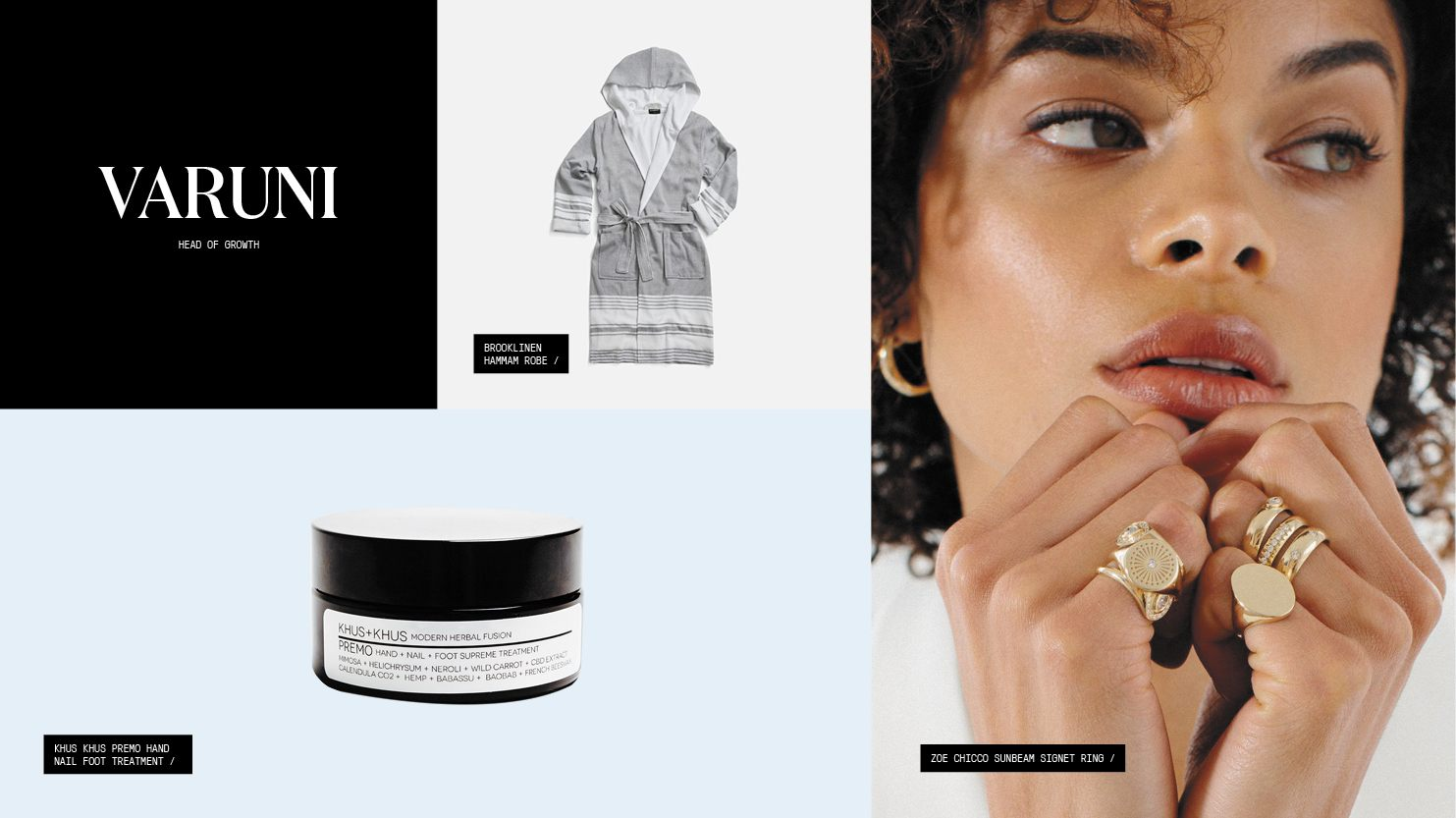 A roundup of gift picks including a robe, a CBD-infused hand, nail, and foot treatment, and a signet ring.
