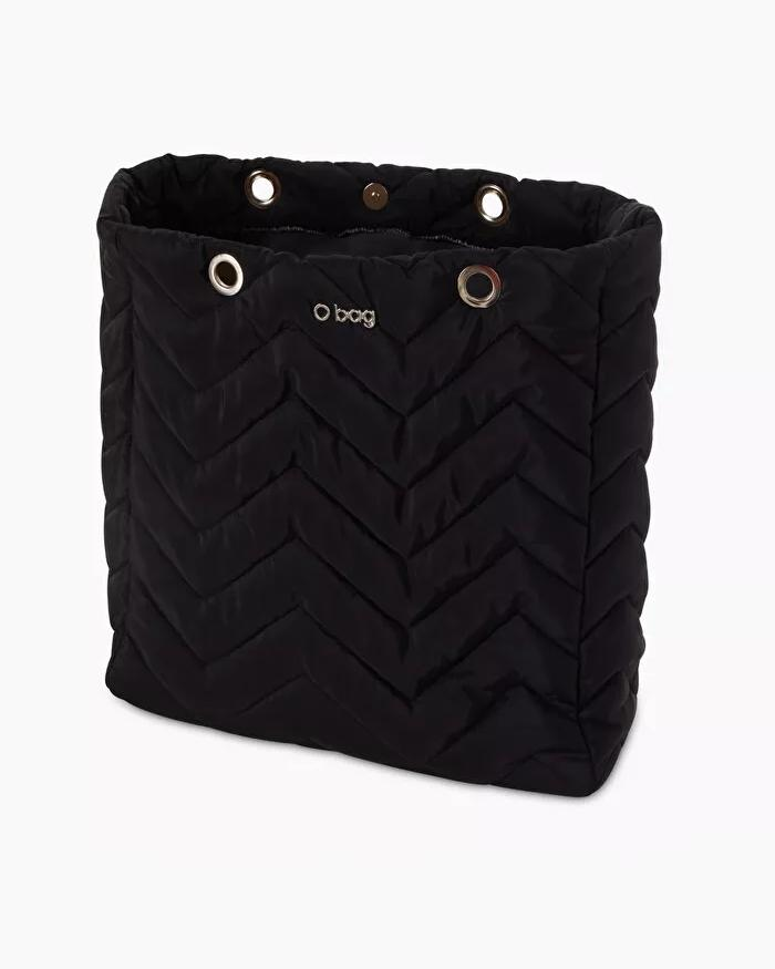 O bag market chevron quilted fabric body black
