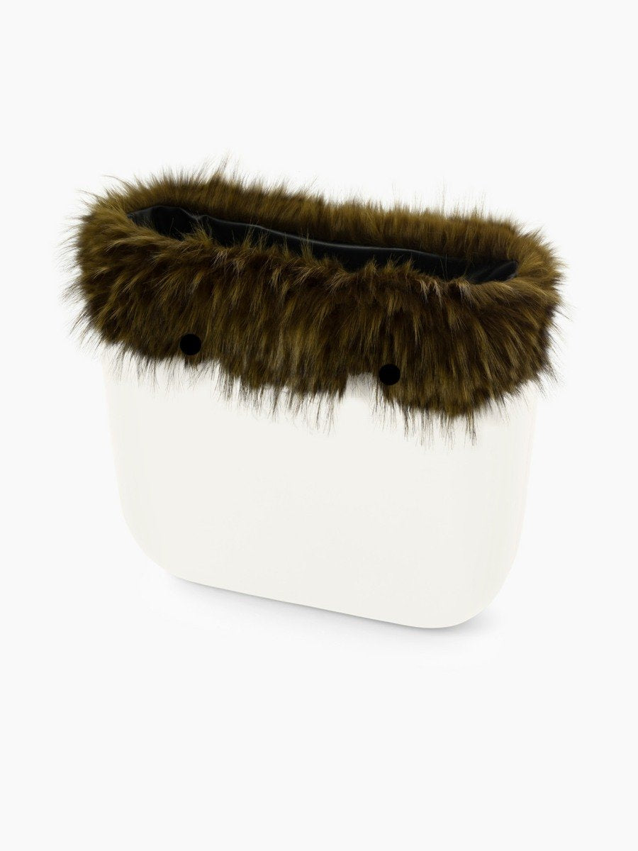 O bag classic faux fur trim military