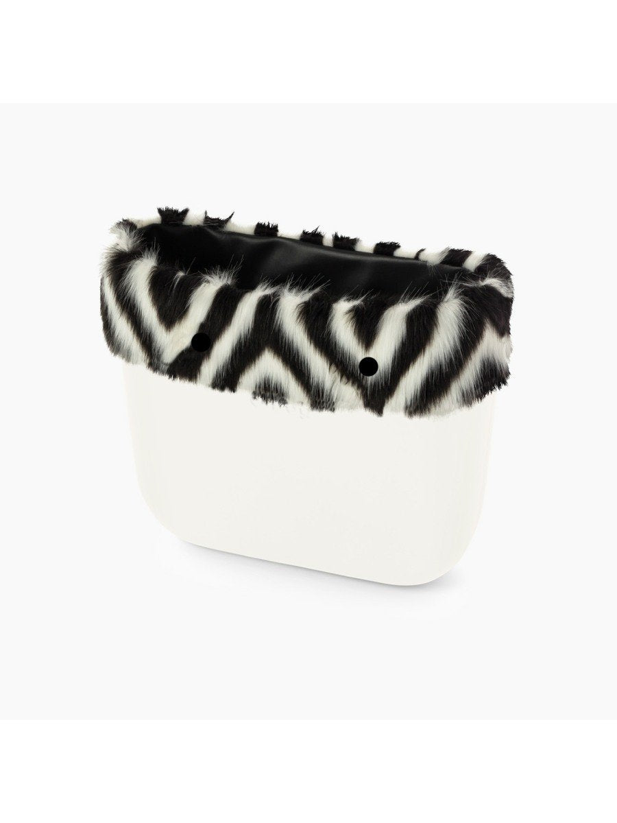 O bag trim mini inlaid faux fur black & white