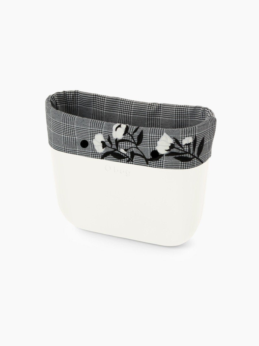 O bag trim mini black & white check with flower detail