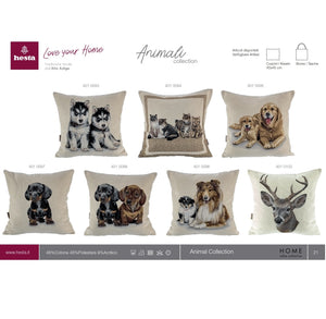 Copricuscino CAT FAMILY, Animal Collection, Gobelin-Jacquard, new 2020