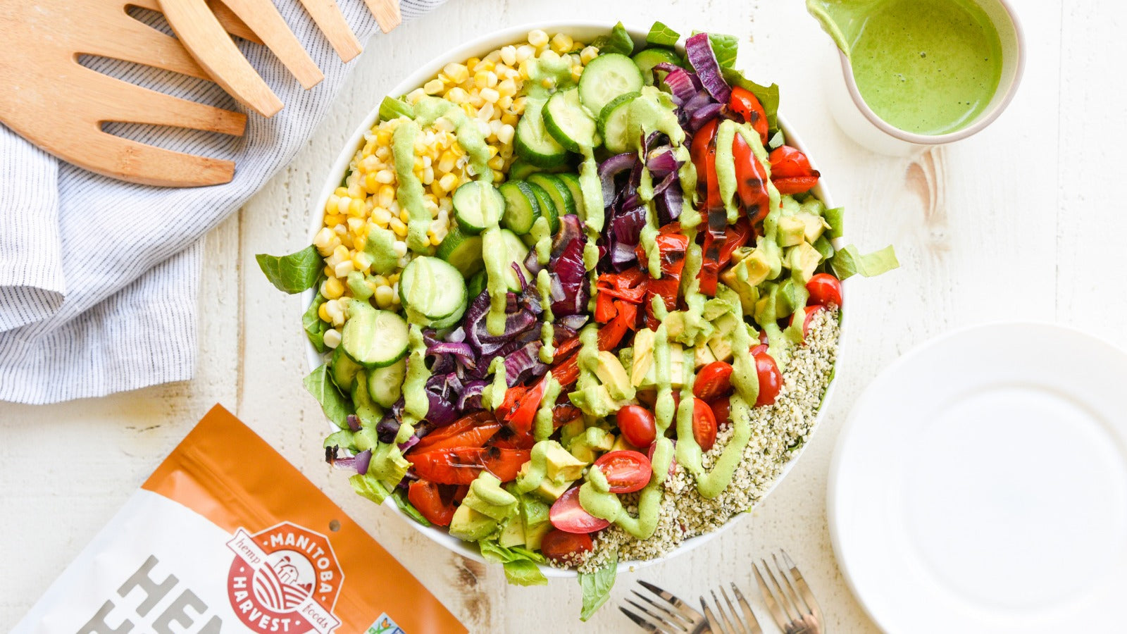 Grilled Vegetable Salad  with Vegan Hemp Pesto Dressing