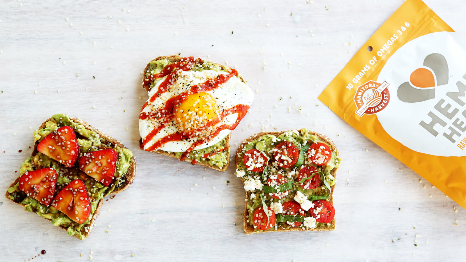 Avocado Hemp Toast - 3 Ways