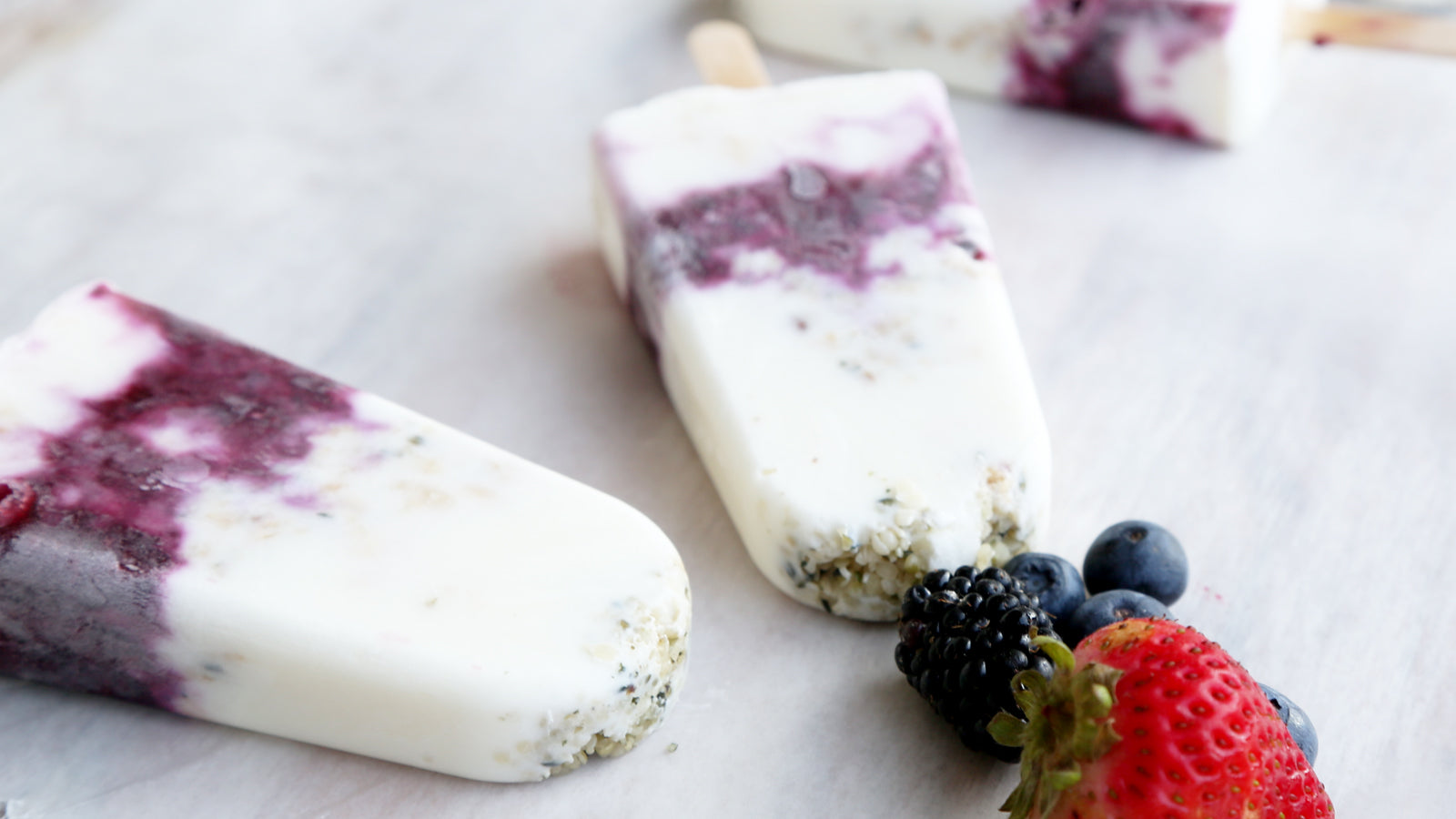 Berry Hemp Parfait Popsicles