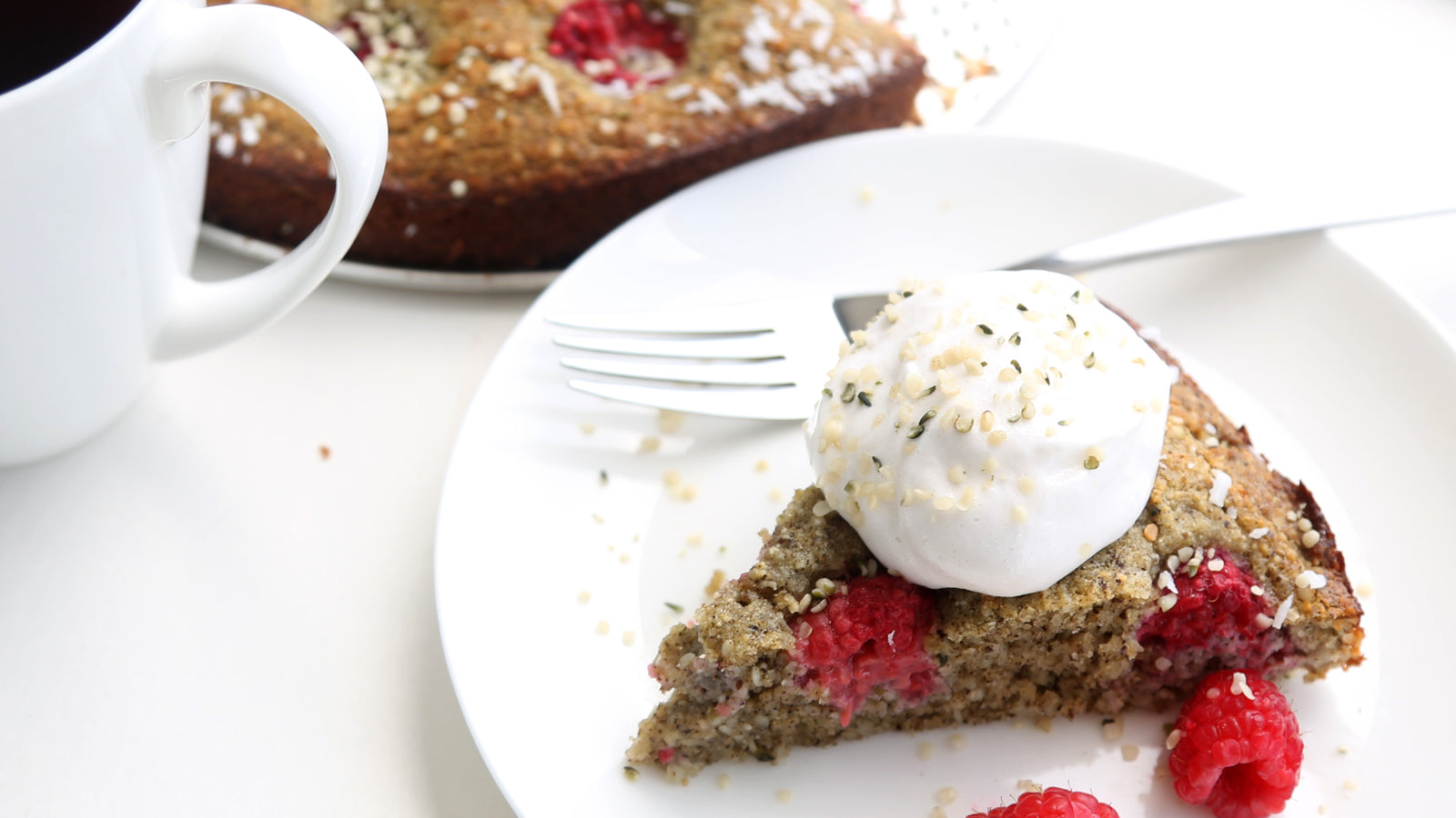 Raspberry Coconut Hemp Cake