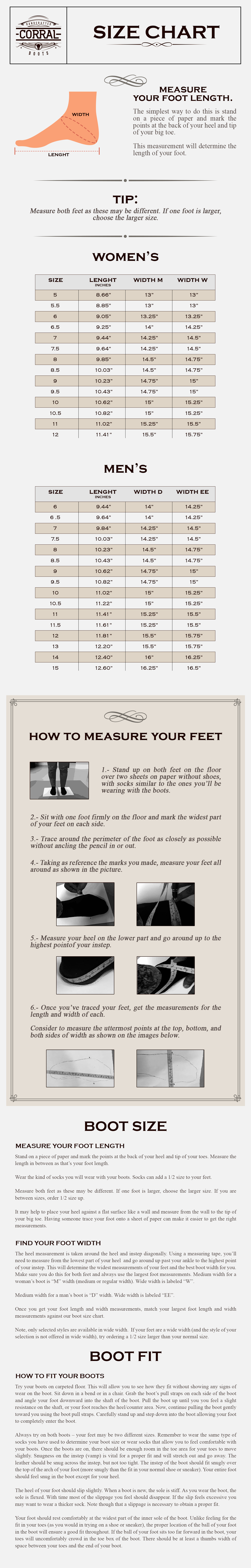 Size Chart Corral Boots