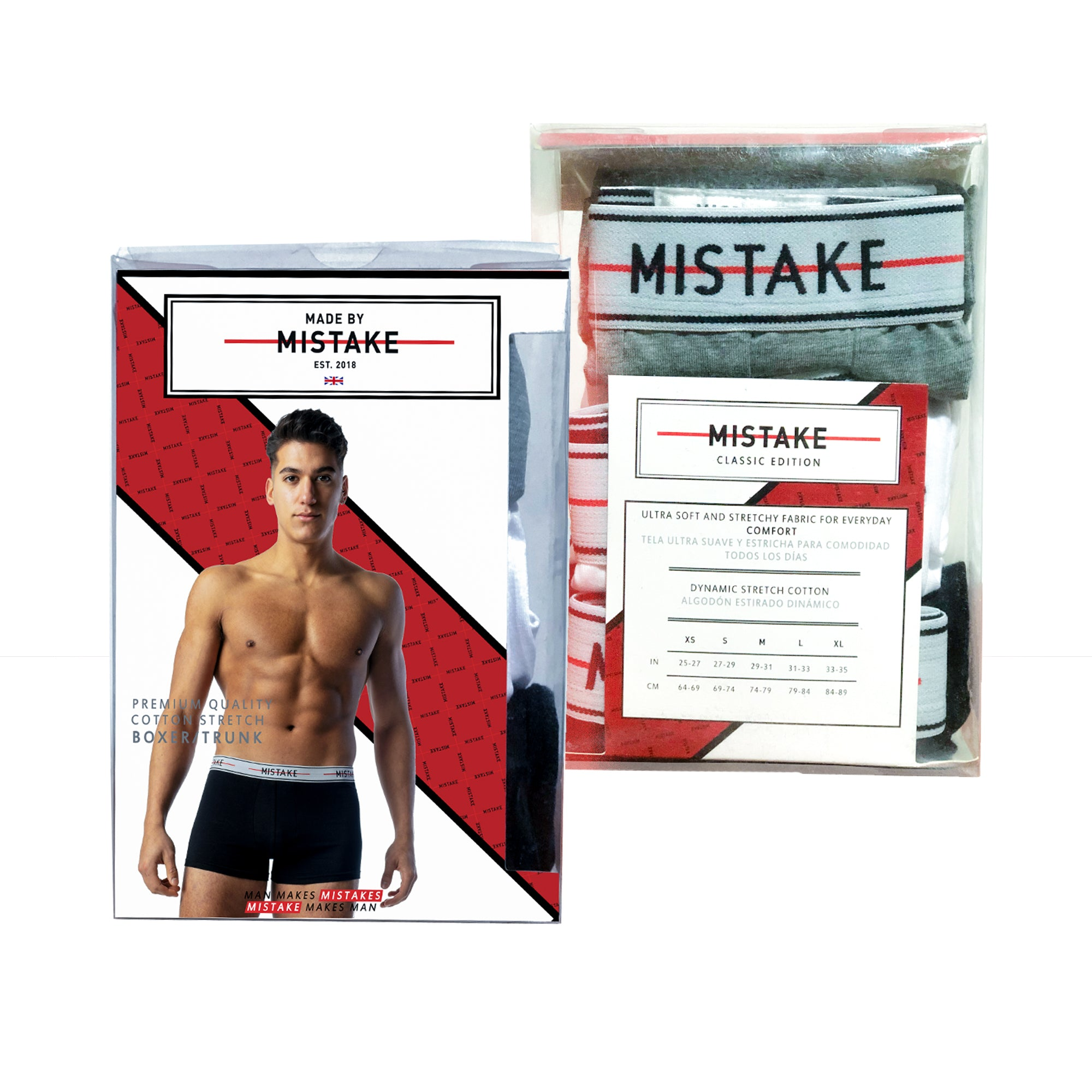 Mistake Classic Edition Boxer Shorts (Navy, Grey, White)