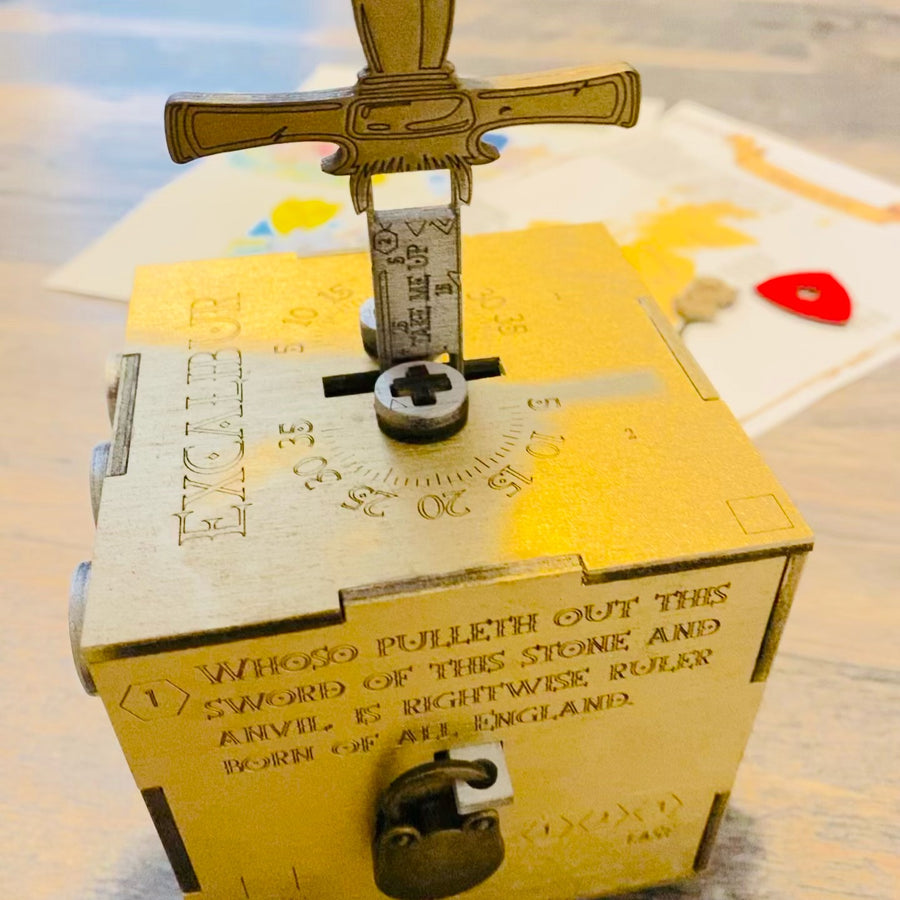 Excalibur: Sword in the Stone - Escape room puzzle box with optional outdoor scavenger hunt