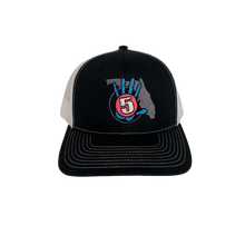 Load image into Gallery viewer, High 5 Retro Florida Curved Bill Hat (black/white)